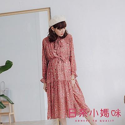 日系小媽咪孕婦裝-孕婦裝~優雅花朵領綁帶洋裝 附綁繩