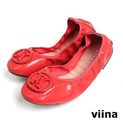 viina 經典款烤漆扣摺疊鞋MIT-玫瑰紅