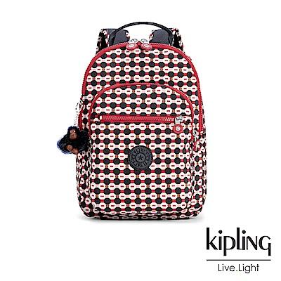 Kipling 節慶感紅黑幾何圖騰後背包-CLAS SEOUL S