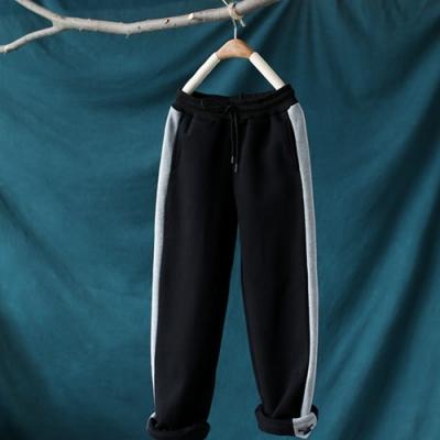 可兩穿褲口鬆緊腰加絨運動褲寬鬆側杠拼接衛褲-設計所在