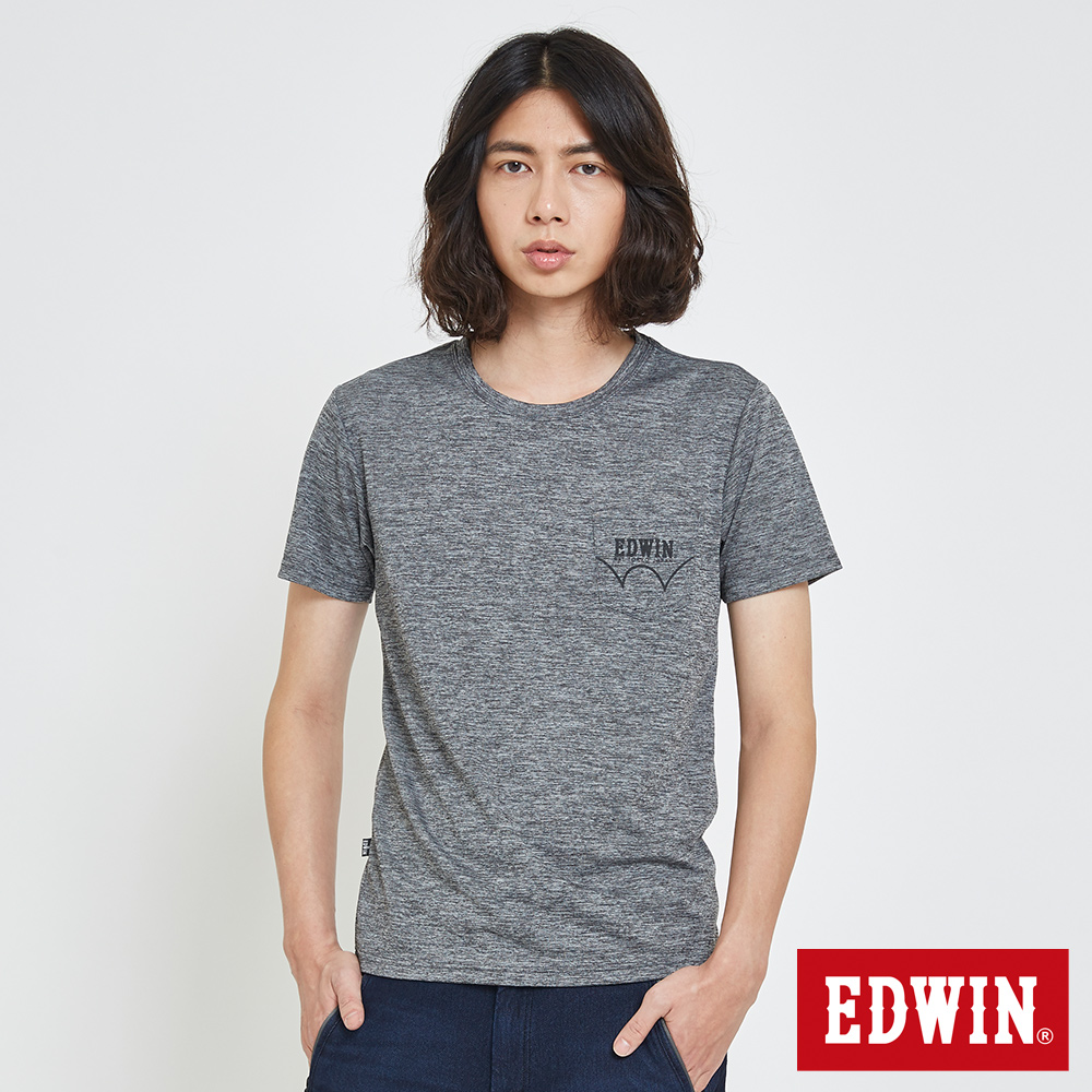EDWIN 涼感LOGO口袋T恤-男-黑灰