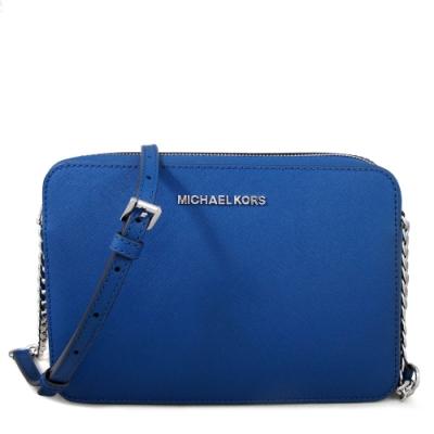 MICHAEL KORS Jet Set Item銀字Logo防刮皮革斜背方包(寶石藍)