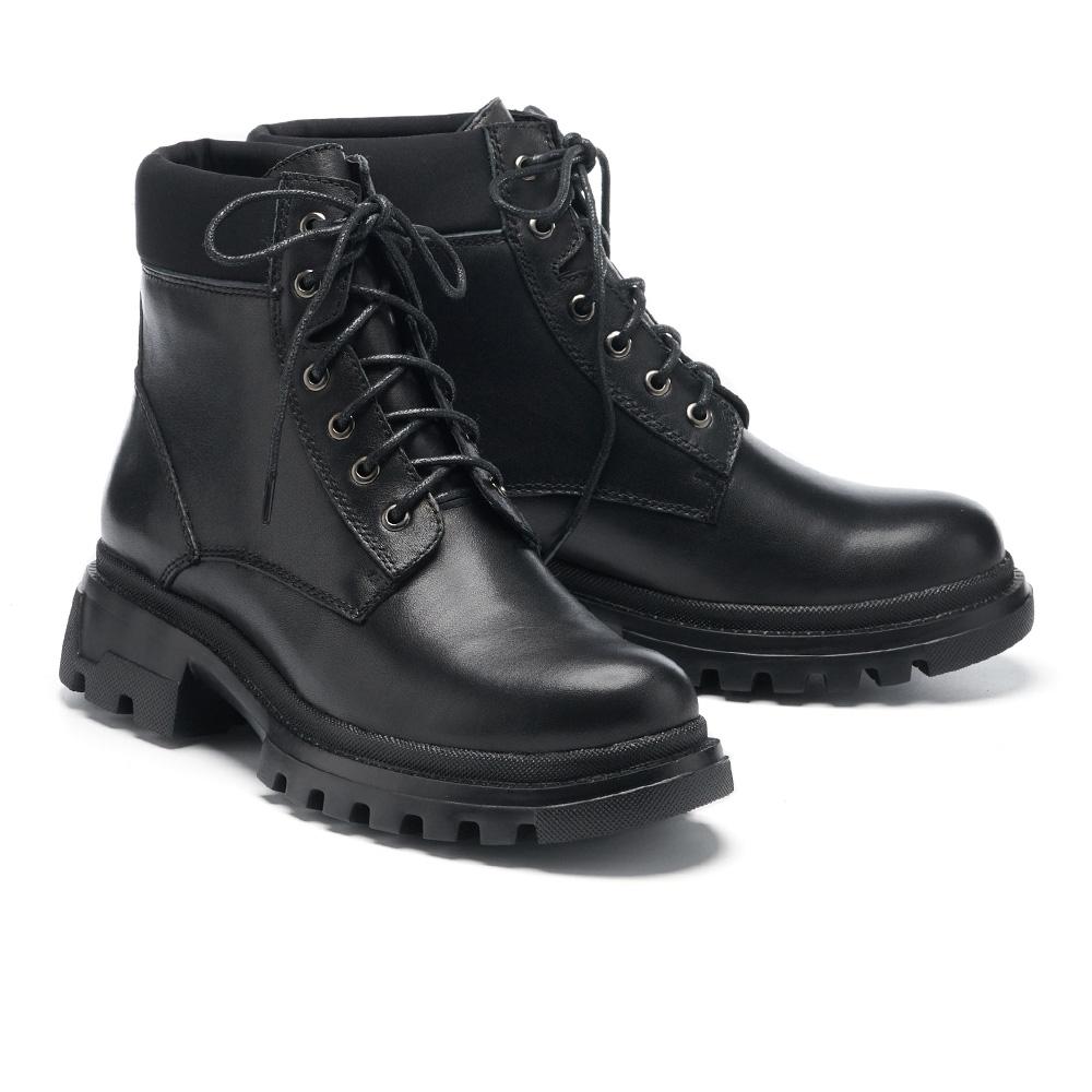 短靴 HELENE SPARK 個性時尚異材質拼接綁帶厚底短靴-黑