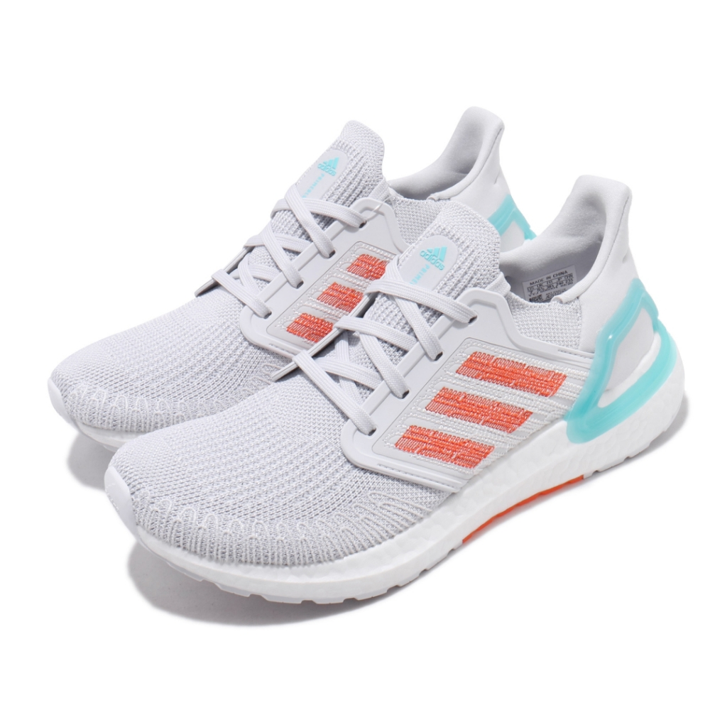 adidas 慢跑鞋 ULTRABOOST 20 襪套式 男鞋 愛迪達 運動休閒 緩震 輕量 穿搭 灰 藍 橘 EG0770