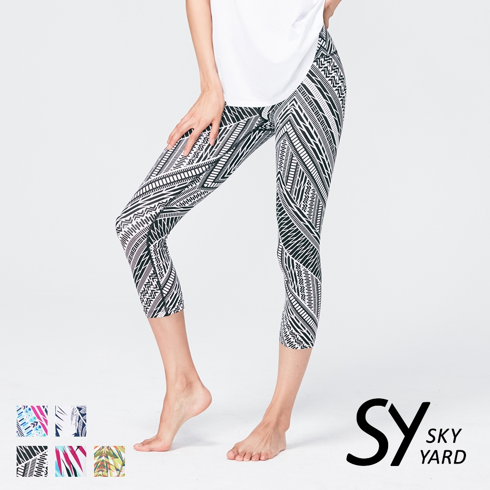 【SKY YARD 天空花園】熱銷-輕度機能緊身運動褲-七分褲-黑色幾何