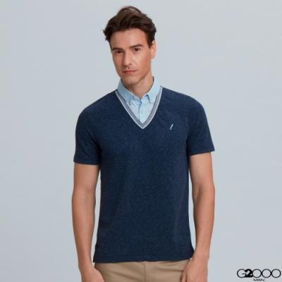 G2000素面網眼短袖襯衫領polo衫-深藍色