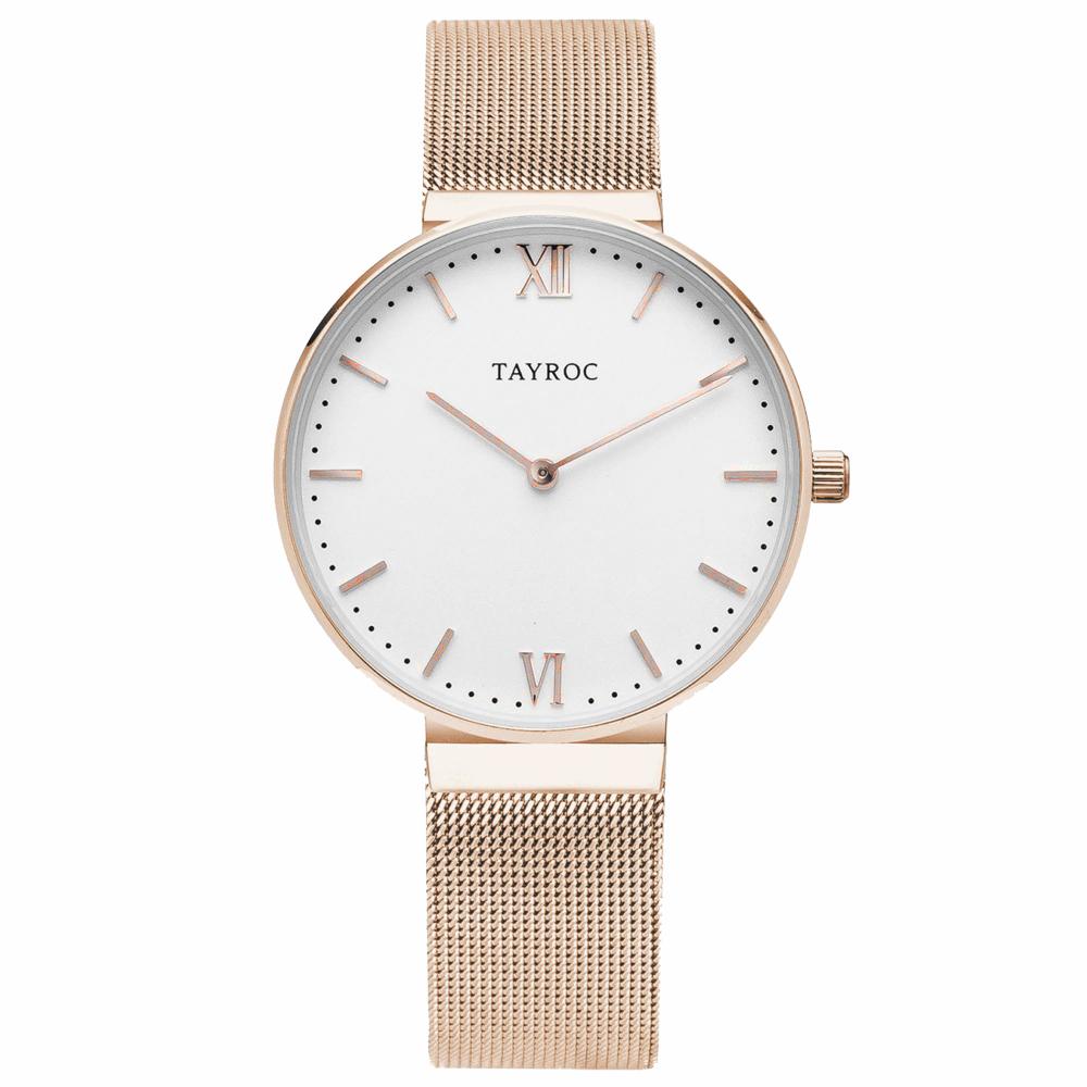 TAYROC  浪漫奢華時尚米蘭腕錶-玫瑰金X白(TY145)-36mm