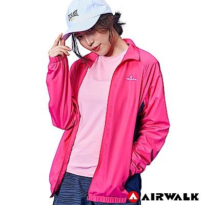 【AIRWALK】女款立領風衣外套-桃紅