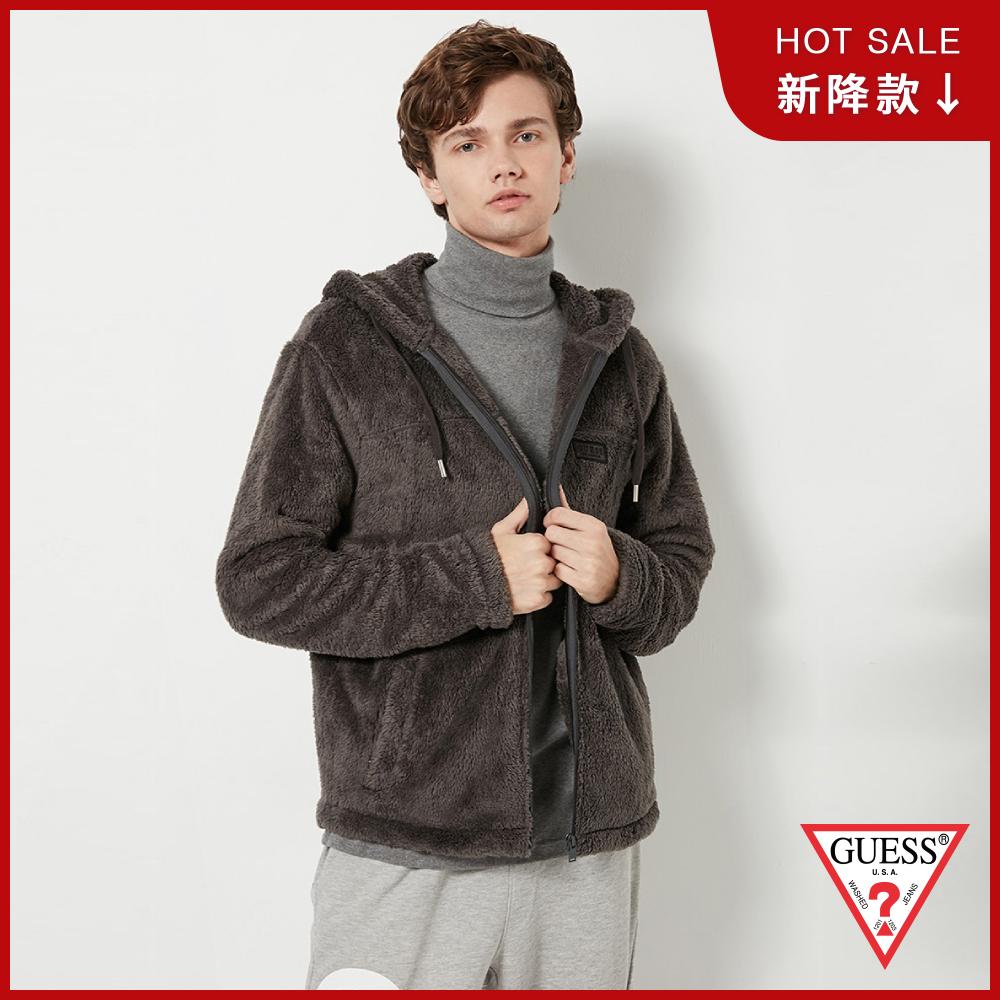 GUESS-男裝-舒適柔毛連帽外套-黑灰 原價3990