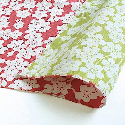 日本Prairiedog 伊砂文樣兩面風呂敷/便當巾-垂枝櫻花(粉/綠)