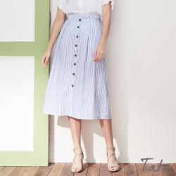 清新條紋排扣中長裙 TATA