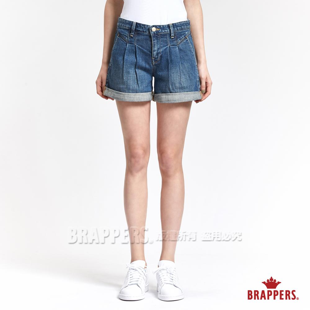 BRAPPERS 女款 Boy Friend 系列-女用彈性燈籠反摺短褲-藍
