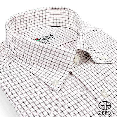 GIBBON 氣質款棉柔格紋長袖襯衫‧灰格