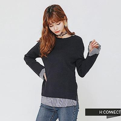 H:CONNECT 韓國品牌 女裝-下擺拼接圓領針織衫-藍