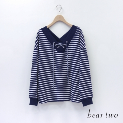 bear two- 大V領綁帶條紋上衣 - 藍