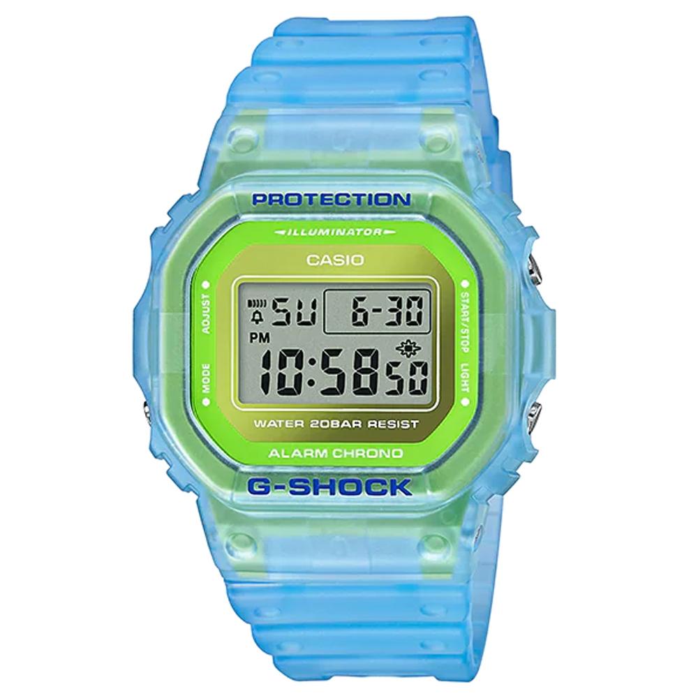 G-SHOCK 經典5600系列螢光透視感休閒電子錶-藍x綠(DW-5600LS-2)/42.8mm