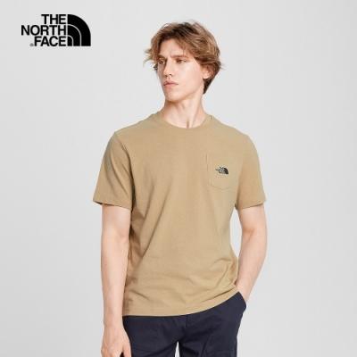 The North Face北面男女款卡其色胸前口袋短袖T恤 4NEVH7E