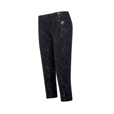 FILA 女萊卡針織七分褲-黑色 5PNT-5604-BK