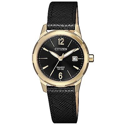CITIZEN 星辰 典雅時尚真皮手錶EU6078-09E-黑X金框/30mm