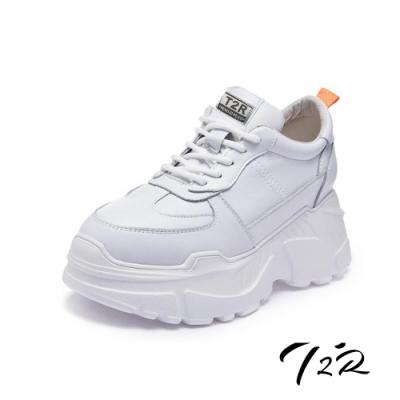 T2R-正韓空運-全真皮牛皮隱形內增高厚底老爹鞋-增高8公分-白