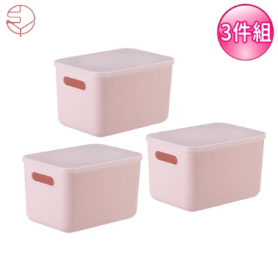 日本霜山 無印風手提式多功能收纳盒附蓋3入組-粉红S (26.5X18.5X16.5)