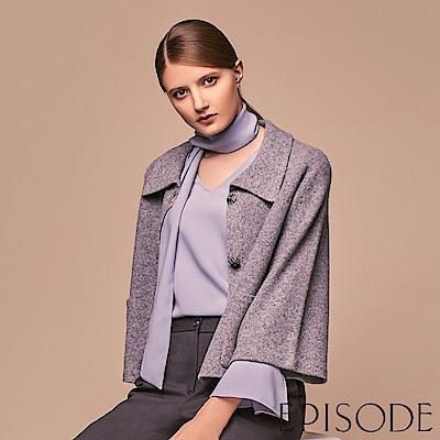 EPISODE - 灰藍荷葉袖領巾造型雪紡上衣
