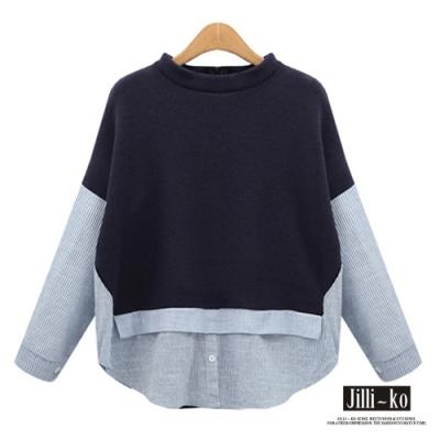 JILLI-KO 歐美時尚百搭假兩件拼接條紋上衣- 深藍