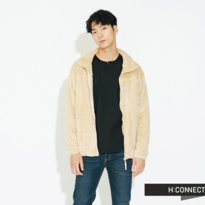 H:CONNECT 韓國品牌 男裝 - 立領仿皮毛泰迪熊外套  - 卡其