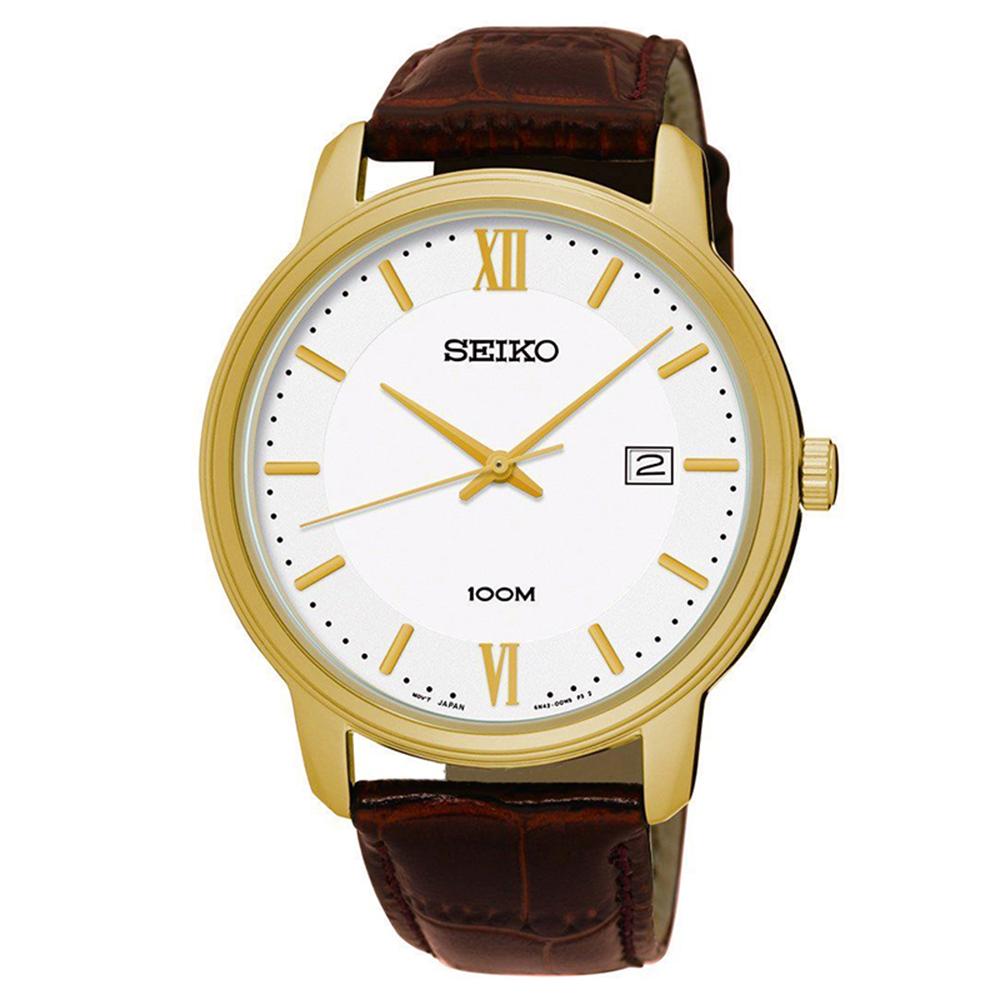 SEIKO 簡約風尚壓紋皮帶石英腕錶(SUR226P1)白-/41mm