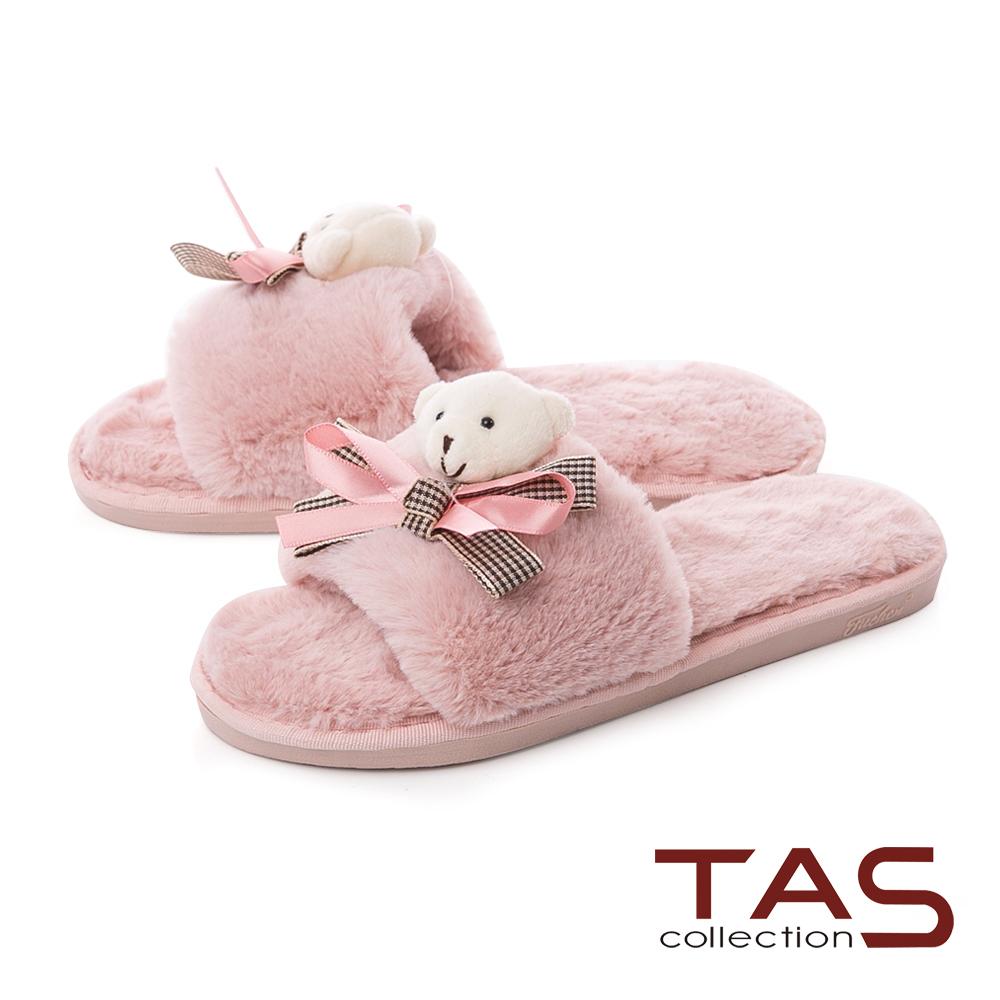 TAS小熊蝴蝶結寬繫帶絨毛室內拖鞋-甜心粉