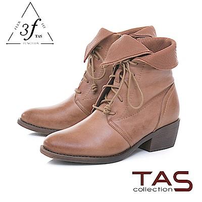 TAS蛇紋翻領蝴蝶結繫帶羊皮粗跟短靴-榛果卡其