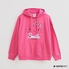 Hang Ten -女裝 - Sanrio-簡約風印花刷毛圓領連帽上衣 - 粉