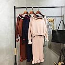 AH dream夢想女孩 純色一字領針織衫連身裙兩件式套裝