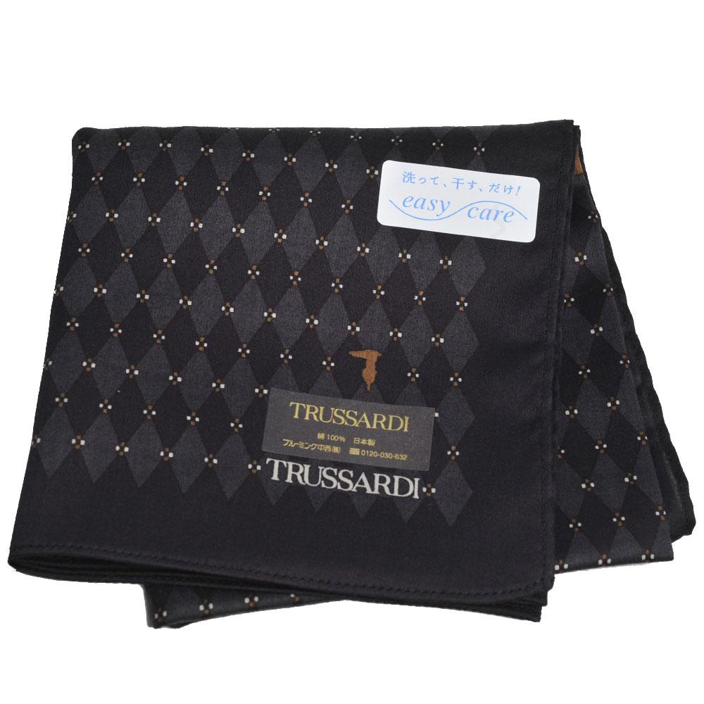 TRUSSARDI 經典品牌圖騰LOGO菱格紋帕領巾(黑系) @ Y!購物