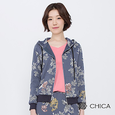 CHICA 女子花藝課連帽抽繩純棉外套(2色)
