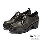 達芙妮DAPHNE 休閒鞋-復古英倫綁帶粗跟厚底休閒鞋-橄欖綠