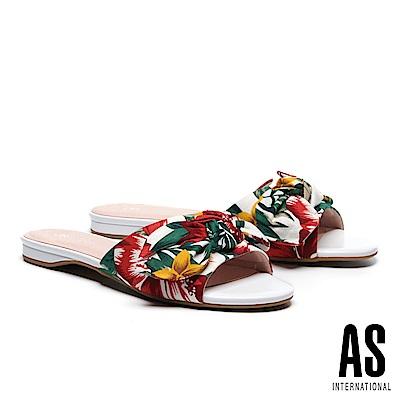 拖鞋 AS 熱帶風情蝴蝶結造型花布低跟拖鞋-紅白