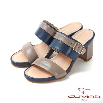 CUMAR普羅旺斯莊園- 復古撞色兩截式一字帶彩色粗跟涼鞋-芋灰