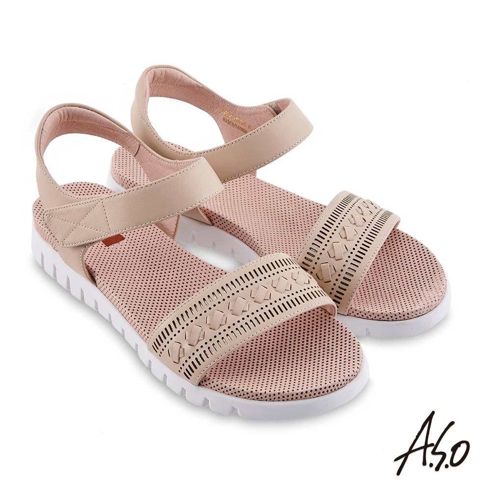 A.S.O 機能休閒 夏季輕量沖孔內襯金箔皮料休閒涼鞋-卡其