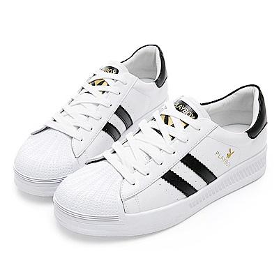 PLAYBOY 簡約潮流皮料拼接休閒鞋-白黑-Y53181C