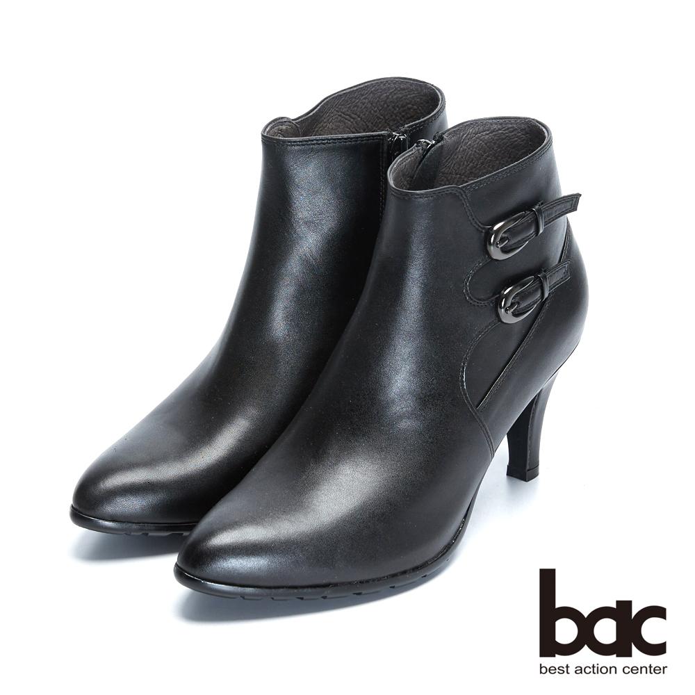 【bac】時尚玩家 - 簡約尖頭雙扣裝飾拚接高跟短靴