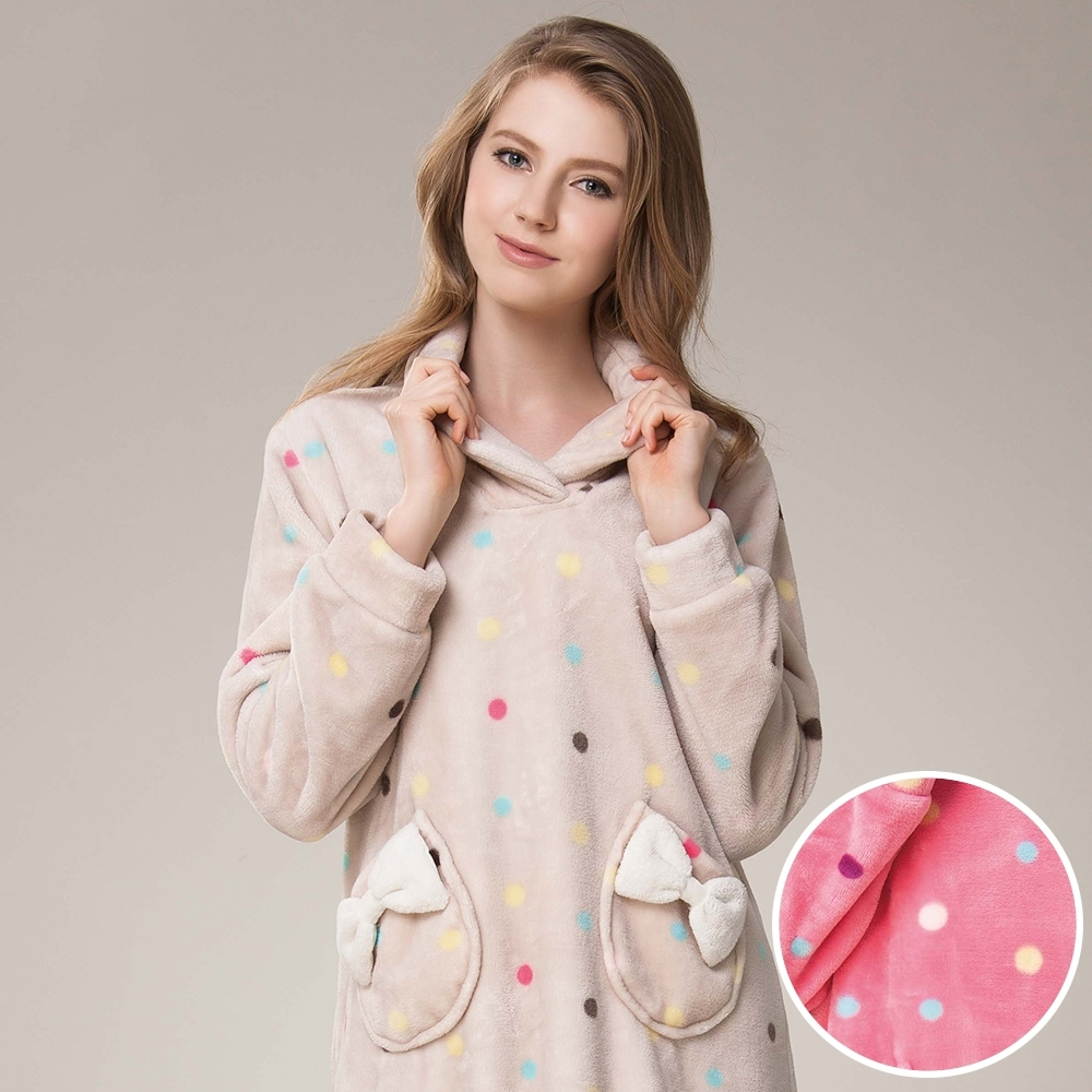 La Felino - 糖果點點保暖洋裝睡衣 - 桃粉色