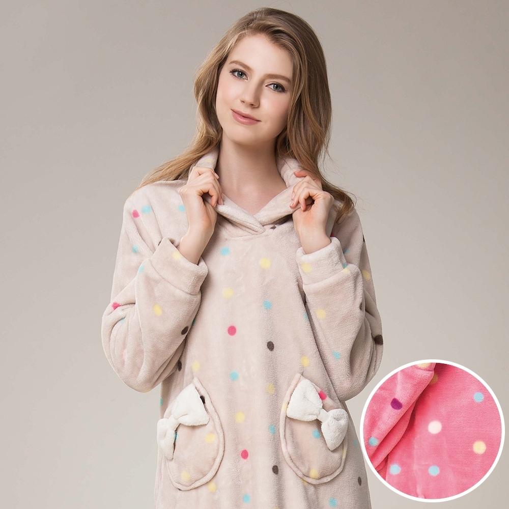 La Felino - 糖果點點保暖洋裝睡衣 - 卡其膚
