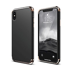 elago iPhone X 全包覆防摔手機保護殼-皮革漆黑+鉻金