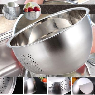 Ezlife 304不鏽鋼雙底面淘米洗菜瀝水盆2入組(贈廚房防油壁貼)