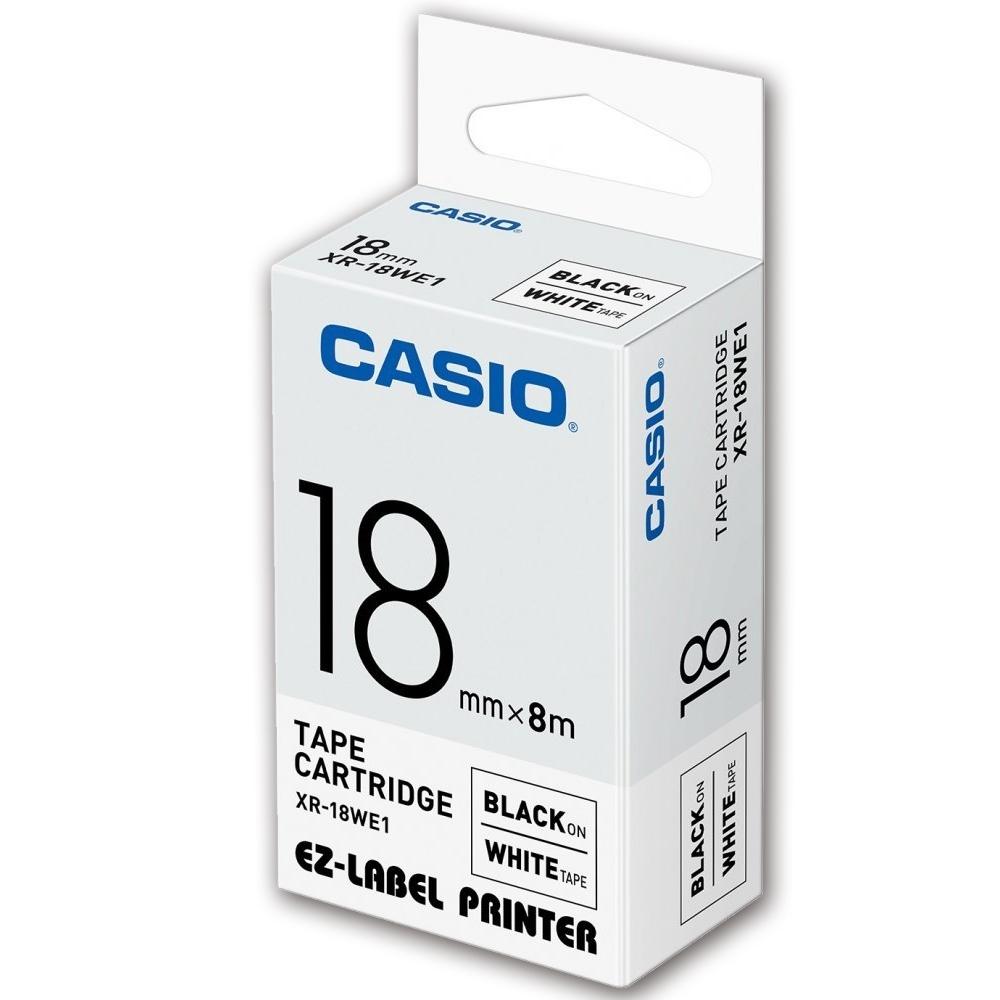 CASIO 標籤機專用色帶-18mm【共有9色】白底黑字XR-18WE1