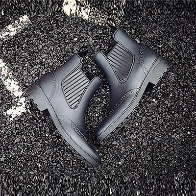 KEITH-WILL時尚鞋館 雕花靴型防水雨鞋二用雨靴-黑色