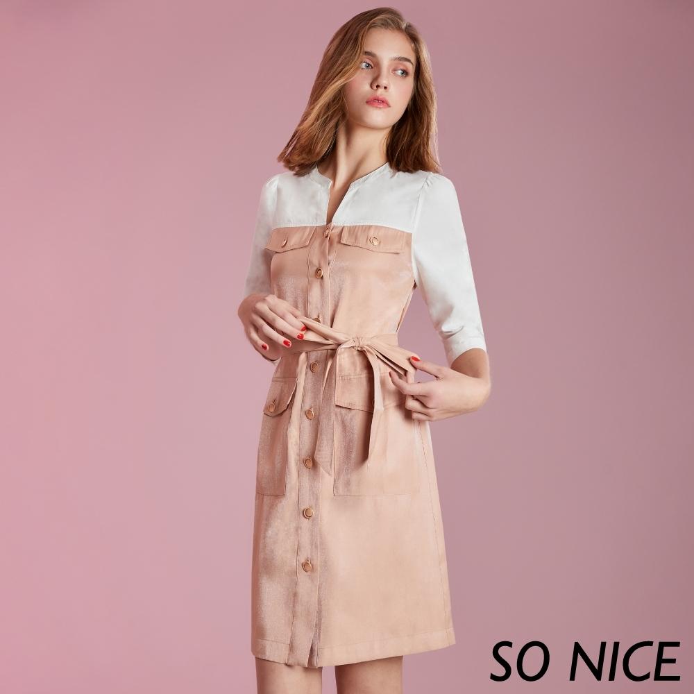 SO NICE時尚撞色拼接襯衫洋裝