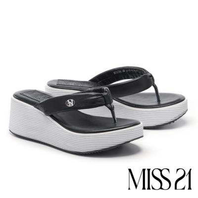 拖鞋 MISS 21 時髦復古超高堆疊層次羊皮人字厚底拖鞋-黑