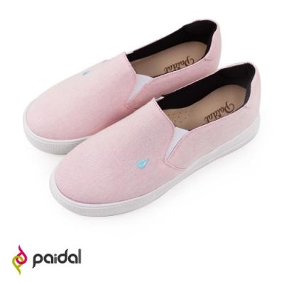 Paidal 粉色保特紗厚底休閒鞋加硫鞋-水滴